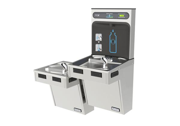 Image for Halsey Taylor HydroBoost Bottle Filling Station, & Bi-Level Reverse ADA Cooler, Non-Filtered Non-Refrigerated Stainless from Halsey Taylor
