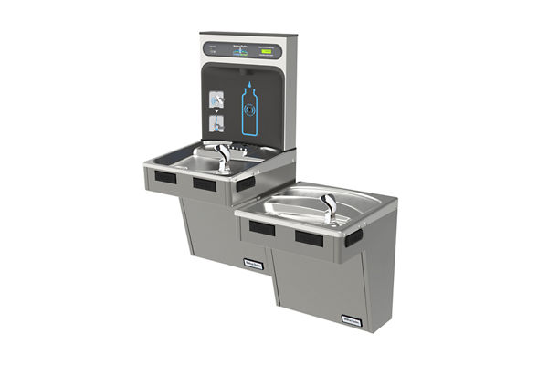 Halsey Taylor HydroBoost Bottle Filling Station, & Bi-Level ADA Cooler, Filtered Non-Refrigerated Platinum Vinyl