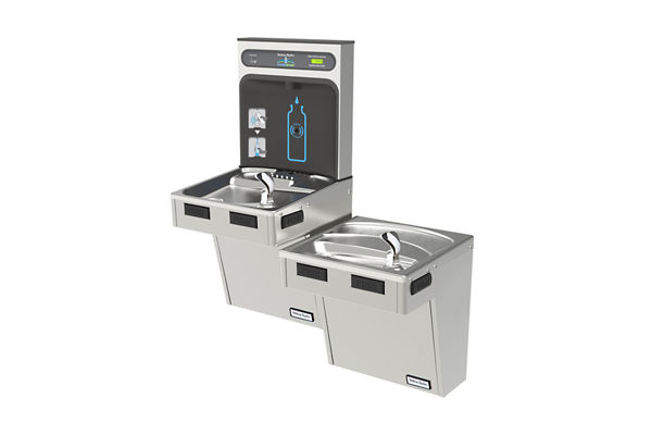 Halsey Taylor HydroBoost Bottle Filling Station, & Bi-Level ADA Cooler, Filtered Non-Refrigerated Stainless