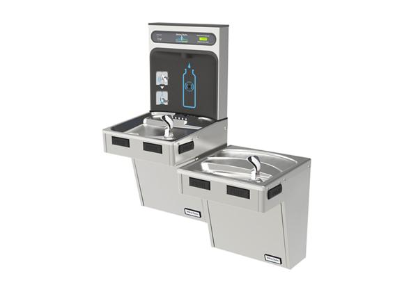 Image for Halsey Taylor HydroBoost Bottle Filling Station & Bi-Level ADA Cooler, Filtered Non-Refrigerated Stainless from Halsey Taylor