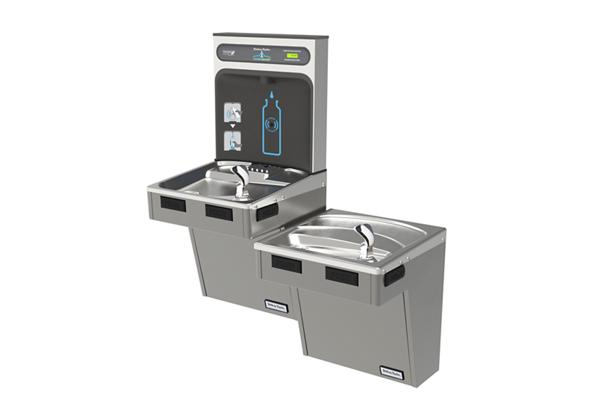 Image for Halsey Taylor HydroBoost Bottle Filling Station with Bi-Level Green ADA Cooler, Non-filtered, 8 GPH, Platinum Vinyl from Halsey Taylor