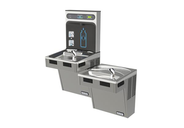 Image for Halsey Taylor HydroBoost Bottle Filling Station with Bi-Level Green ADA Cooler, Filtered, 8 GPH, Platinum Vinyl from Halsey Taylor
