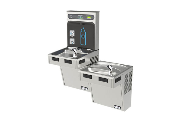 Halsey Taylor HydroBoost Bottle Filling Station, & Bi-Level ADA Cooler, High Efficiency Filtered 8 GPH Stainless