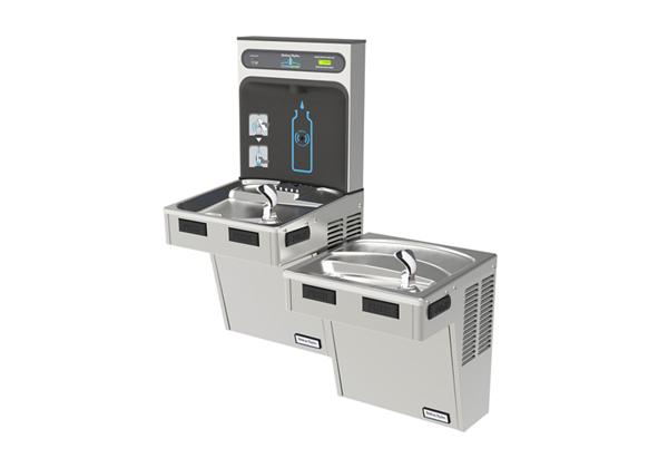 Image for Halsey Taylor HydroBoost Bottle Filling Station with Bi-Level Green ADA Cooler, Filtered, 8 GPH, Stainless from Halsey Taylor