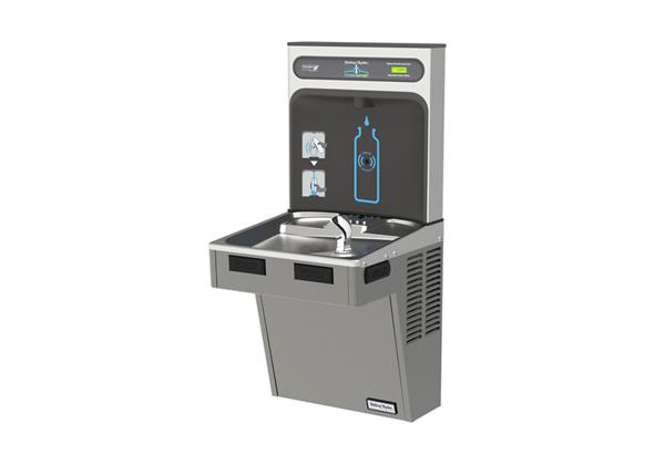 Image for Halsey Taylor HydroBoost Bottle Filling Station with Single Green ADA Cooler, Non-filtered, 8 GPH, Platinum Vinyl from Halsey Taylor