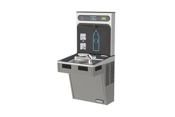 Halsey Taylor HydroBoost Bottle Filling Station with Single Green ADA Cooler, Filtered, 8 GPH, Platinum Vinyl