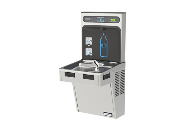 Image for Halsey Taylor HydroBoost Bottle Filling Station with Single Green ADA Cooler, Non-filtered, 8 GPH, Stainless from Halsey Taylor
