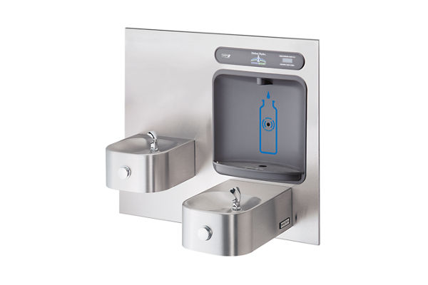 Halsey Taylor HydroBoost Bottle Filling Station, & Integral Contour Fountain, Non-Filtered Non-Refrigerated Stainless