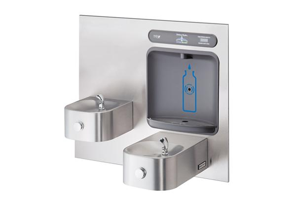 Image for Halsey Taylor HydroBoost Bottle Filling Station with Contour BI-Level Fountain, Non-filtered, Non-refrigerated, Stainless from Halsey Taylor