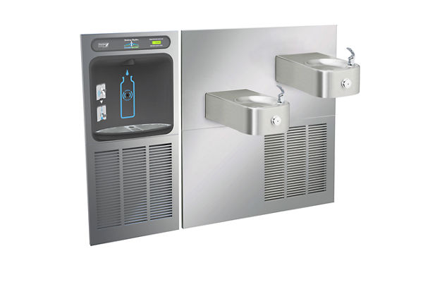 Halsey Taylor HydroBoost In-Wall Bottle Filling Station, & Contour Fountain, Non-Filtered 8 GPH Stainless