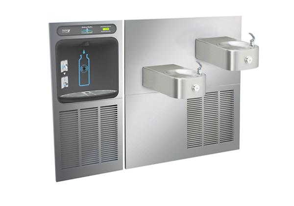 Image for Halsey Taylor HydroBoost Bottle Filling Station with Contour Bi-Level Fountain, Non-filtered, 8 GPH, Stainless from Halsey Taylor