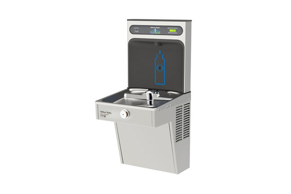 Halsey Taylor HydroBoost Bottle Filling Station, & Single Vandal-Resistant Cooler, High Efficiency Filtered 8 GPH Stainless