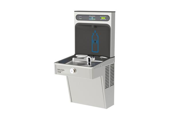 Image for Halsey Taylor HydroBoost Bottle Filling Station with Single Vandal-Resistant Green Cooler, Filtered, 8 GPH, Stainless from Halsey Taylor