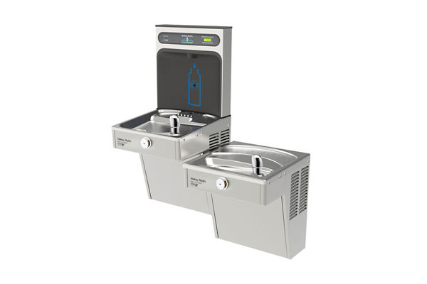 Halsey Taylor HydroBoost Bottle Filling Station, & Bi-Level Vandal-Resistant Cooler, High Efficiency Filtered 8 GPH Stainless