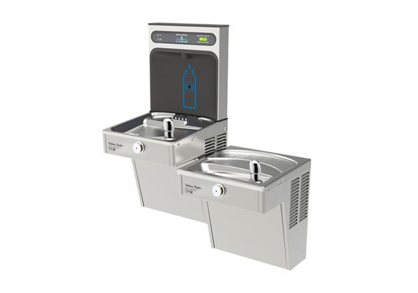 Image for Halsey Taylor HydroBoost Bottle Filling Station with Bi-Level Vandal-Resistant Green Cooler, Filtered, 8 GPH, Stainless from Halsey Taylor