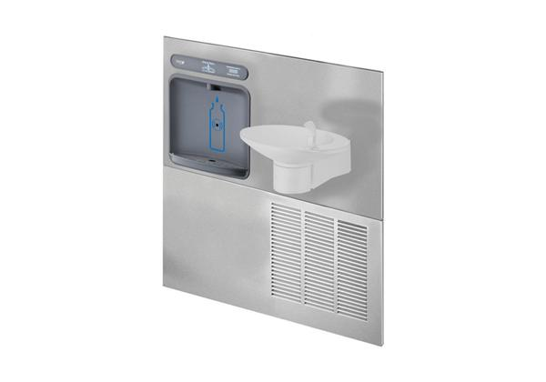 Image for Halsey Taylor HydroBoost Bottle Filling Station with Retrofit OVL-II Fountain, Non-filtered, 8 GPH, Stainless from Halsey Taylor