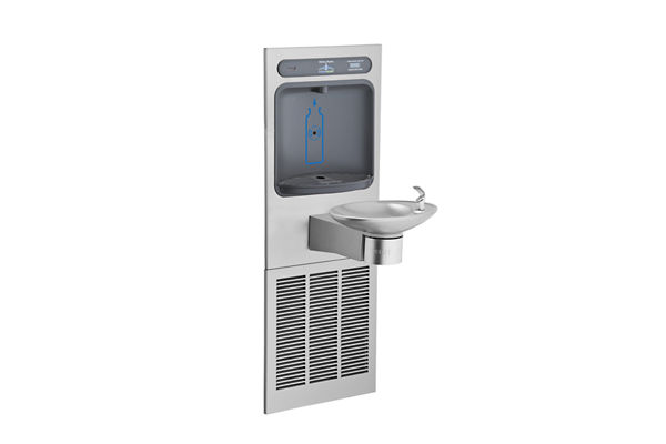Halsey Taylor HydroBoost Bottle Filling Station, & Integral OVL-II Fountain, Non-Filtered, 8 GPH Stainless