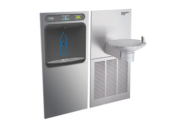 Image for Halsey Taylor HydroBoost Bottle Filling Station with OVL-II Green Single Fountain, Non-filtered, 8 GPH, Stainless from Halsey Taylor