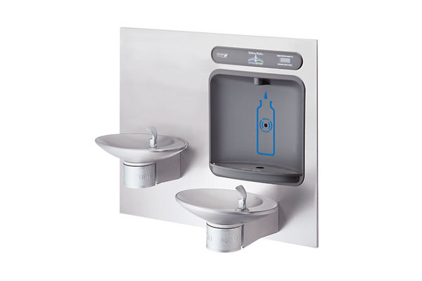 Halsey Taylor HydroBoost Bottle Filling Station, & Integral OVL-II Fountain, Non-Filtered Non-Refrigerated Stainless
