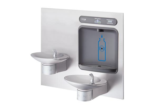 Image for Halsey Taylor HydroBoost Bottle Filling Station with Integral OVL-II Fountain, Non-filtered, Non-refrigerated, Stainless from Halsey Taylor
