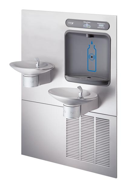 halsey taylor hydroboost bottle filling station, & integral ovl-ii  fountain, non-filtered 8 gph stainless