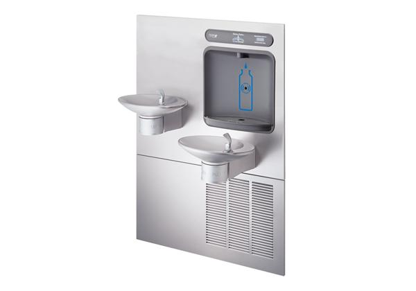Image for Halsey Taylor HydroBoost Bottle Filling Station with Bi-Level Integral OVL-II Fountain, Non-filtered, 8 GPH, Stainless from Halsey Taylor