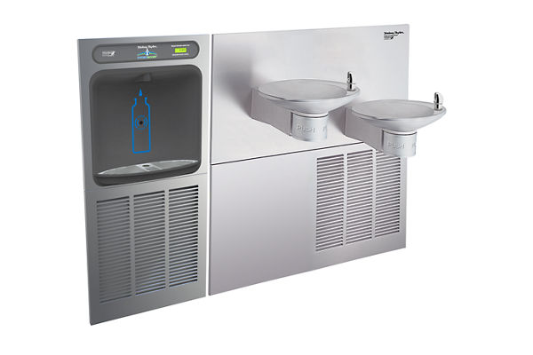Halsey Taylor HydroBoost In-Wall Bottle Filling Station, & OVL-II Fountain, High Efficiency Non-Filtered 8 GPH Stainless