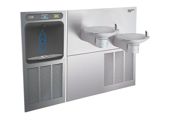Image for Halsey Taylor HydroBoost Bottle Filling Station with OVL-II Green Bi-Level Fountains, Non-filtered, 8 GPH, Stainless from Halsey Taylor
