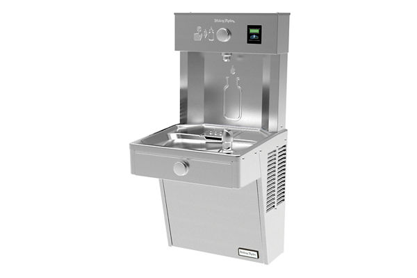 Halsey Taylor HydroBoost Vandal-Resistant Bottle Filling Station, & Single ADA Cooler, Non-Filtered Non-Refrigerated Stainless
