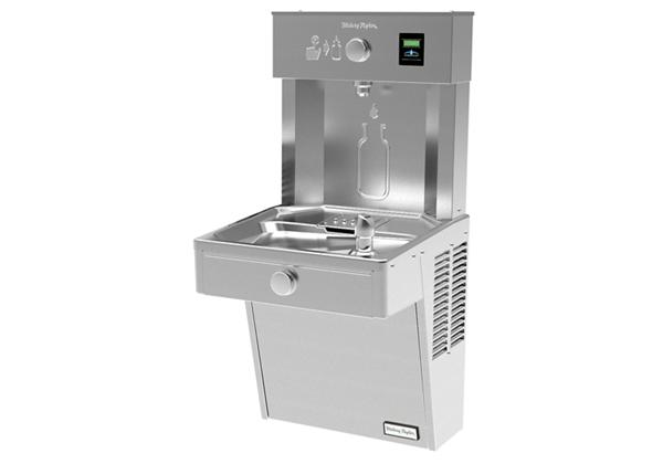 Image for Halsey Taylor HydroBoost Vandal-Resistant Bottle Filling Station, & Single ADA Cooler, Non-Filtered Non-Refrigerated Stainless from Halsey Taylor
