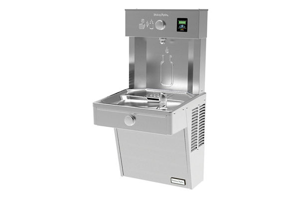 Halsey Taylor HydroBoost Vandal-Resistant Bottle Filling Station, & Single ADA Cooler, Filtered Non-Refrigerated Stainless