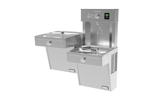 Halsey Taylor HydroBoost Vandal-Resistant Bottle Filling Station & Bi-Level ADA Cooler Non-Filtered 8 GPH Stainless