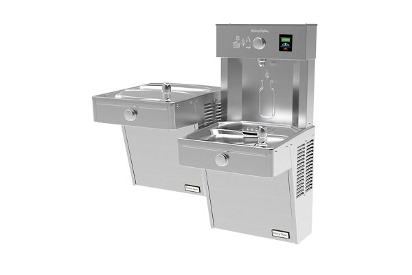 Halsey Taylor HydroBoost Vandal-Resistant Bottle Filling Station, & Bi-Level ADA Cooler, Filtered Non-Refrigerated Stainless