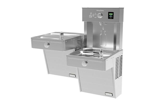 Image for Halsey Taylor HydroBoost Vandal-Resistant Bottle Filling Station, & Bi-Level ADA Cooler, Filtered Non-Refrigerated Stainless from Halsey Taylor