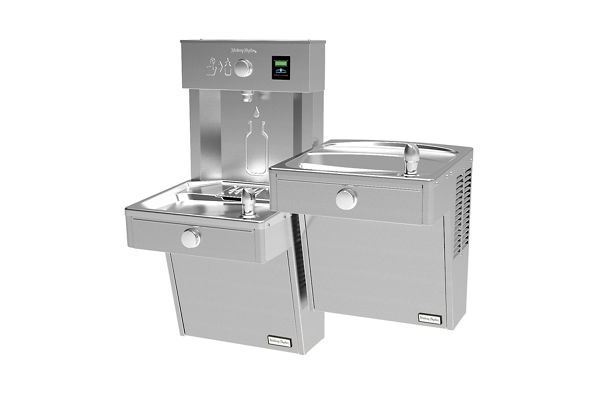 Halsey Taylor HydroBoost Vandal-Resistant Bottle Filling Station & Bi-Level Reverse ADA Cooler Non-Filtered 8 GPH Stainless