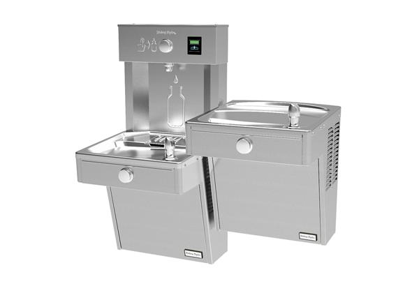 Image for Halsey Taylor HydroBoost Vandal-Resistant Bottle Filling Station, & Bi-Level Reverse Cooler, Non-Filtered Refrigerated Stainless from Halsey Taylor