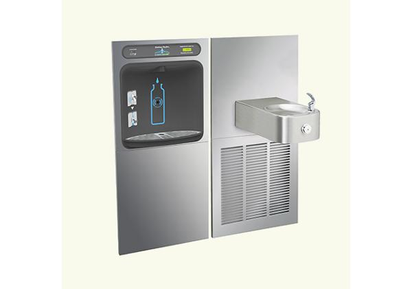 Image for Halsey Taylor HydroBoost In-Wall Bottle Filling Station, & Contour Fountain, Filtered 8 GPH Stainless from Halsey Taylor