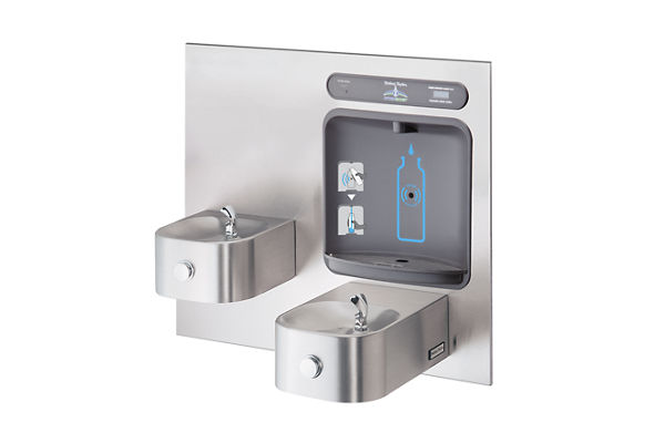 Halsey Taylor HydroBoost Bottle Filling Station, & Integral Contour Fountain, Filtered Non-Refrigerated Stainless