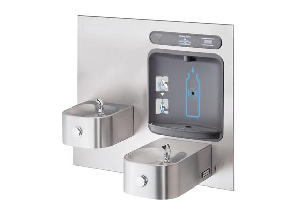 Image for Halsey Taylor HydroBoost Bottle Filling Station with Contour BI-Level Fountain, Filtered, Non-refrigerated, Stainless from Halsey Taylor