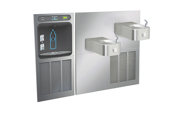 Halsey Taylor HydroBoost In-Wall Bottle Filling Station, & Contour Fountain, Filtered 8 GPH Stainless