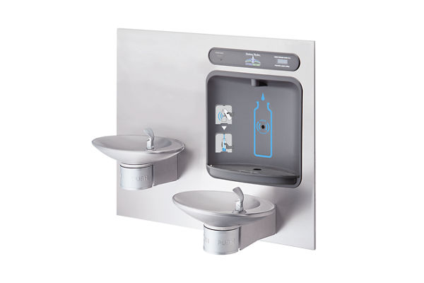 Halsey Taylor HydroBoost Bottle Filling Station with Integral OVL-II Fountain, Filtered, Non-refrigerated, Stainless