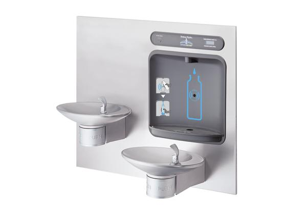 Image for Halsey Taylor HydroBoost Bottle Filling Station & Integral OVL-II™ Fountain, Filtered Non-Refrigerated Stainless from Halsey Taylor