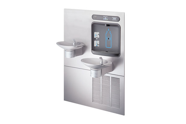 Halsey Taylor HydroBoost Bottle Filling Station, & Integral OVL-II Fountain, Filtered 8 GPH Stainless
