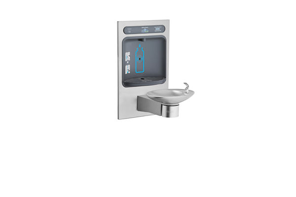 Halsey Taylor HydroBoost Bottle Filling Station, & Integral OVL-II Fountain, Filtered Non-Refrigerated Stainless