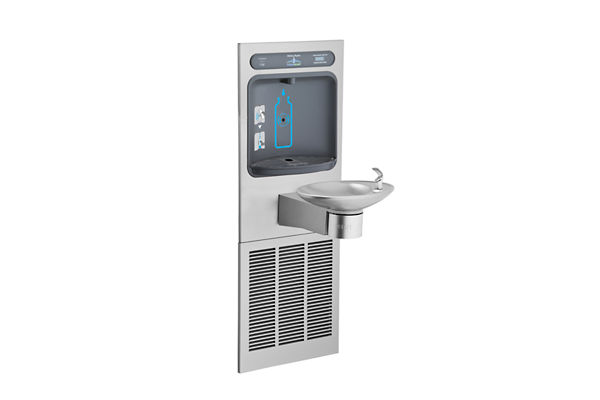 Halsey Taylor HydroBoost Bottle Filling Station, & Integral OVL-II Fountain, Filtered, 8 GPH Stainless