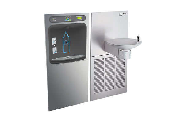 Halsey Taylor HydroBoost In-Wall Bottle Filling Station, & OVL-II Fountain, High Efficiency Filtered 8 GPH Stainless