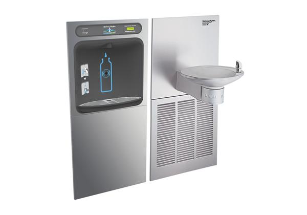 Image for Halsey Taylor HydroBoost Bottle Filling Station with OVL-II Green Single Fountain, Filtered, 8 GPH, Stainless from Halsey Taylor