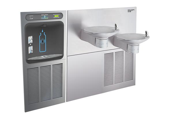 Image for Halsey Taylor HydroBoost Bottle Filling Station with OVL-II Green Bi-Level Fountains, Filtered, 8 GPH Stainless from Halsey Taylor