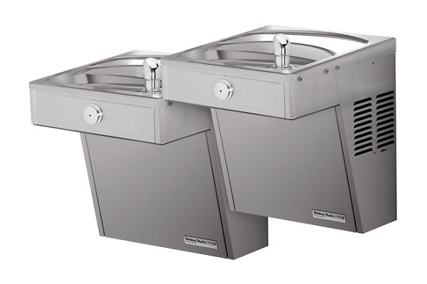 Halsey Taylor Cooler, Wall Mount, Bi-Level Reverse, ADA, Vandal-Resistant, Non-Filtered, 8 GPH, Stainless