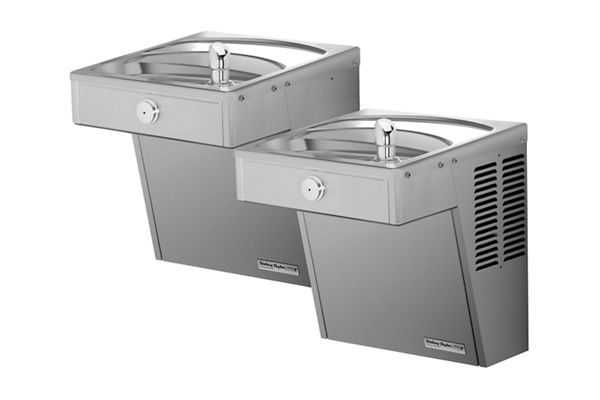 Halsey Taylor Cooler, Wall Mount, Bi-Level, ADA, Vandal-Resistant, Frost Resistant, Non-Filtered, Non-Refrigerated, Stainless